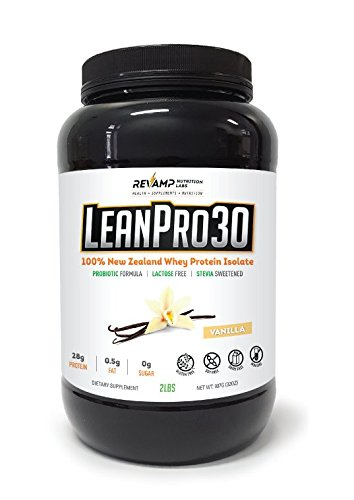 LeanPro30™ 100% All-Natural New Zealand Grass-Fed Whey Isolate Protein with Probiotics. Gluten-Free – Lactose-Free – Non-GMO – Sugar-Free Protein – Vanilla, 2 lb