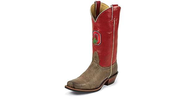 b15bb0ae8a5 Nocona College Men's Ohio State University Cowboy Boot Square Toe Tan 8.5  D(M) US