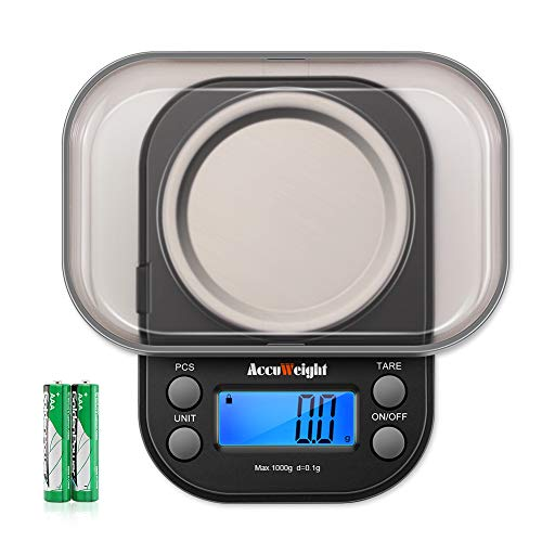 AccuWeight Mini Pocket Gram Scale for Jewelry Digital Food Kitchen Scale 1000 by 0.1g with Tare and Calibration Weight Scale (1g X 1000g Tare Scale)