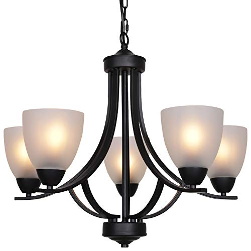 VINLUZ 5 Light Shaded Contemporary Chandeliers with Alabaster Glass Black Rustic Light Fixtures Ceiling Hanging Mid Century Modern Pendant Lighting for Dining Room Foyer Bedroom Living Room