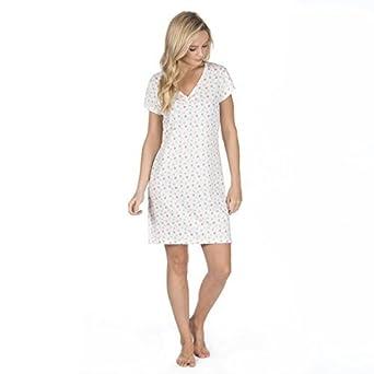 08c20b669e Cottonique Women s Night Dress Ladies V Neck 100% Cotton Short Sleeve Knee  Length Nightie Sleep