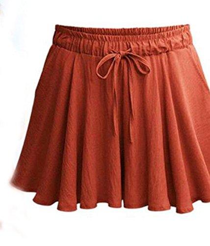 Corto ulein Moda con Estivo Coulisse Pantaloncini Fox Shorts Alta Larga Casual Baggy Rosso Fr a Gamba Pantaloni Mattone Vita Donna 4danqWqwC
