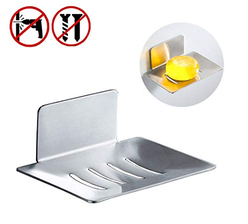 G-Sunny 100% Metal Anti-Rust Soap Box Free Punching Super Adhesive, Alternative to Vacuum Suction Cups,Bathroom Soap Holder, Kitchen Sponge Holder, Soap Dish(Nickel)