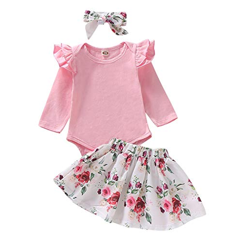 Mayunn (3M-24M) Infant Baby Girls Fly Sleeve Romper+ Floral Print Skirt+Headbands Clothes Bodysuit Set Outfits