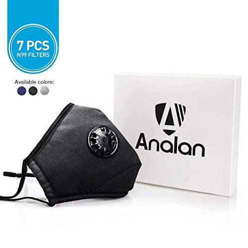 - ANALAN Dust Mask Washable and Reusable Pollution Face Mask with Filter Pollen Smoke Flu Protection(Black, X-Large,7PCS N99 Filters)