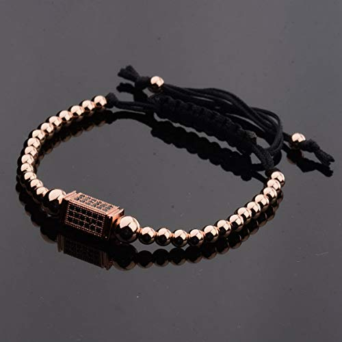 - Werrox Natural Stone Charm Mens Fashion Bracelet Top Copper Micro Pave Black CZ Jewelry | Model BRCLT - 2445 |