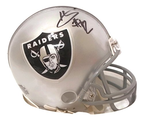 - Oakland Raiders Karl Joseph Autographed Hand Signed Riddell Mini Football Helmet with Proof Photo of Signing and COA- WVU West Virginia University Mountaineers