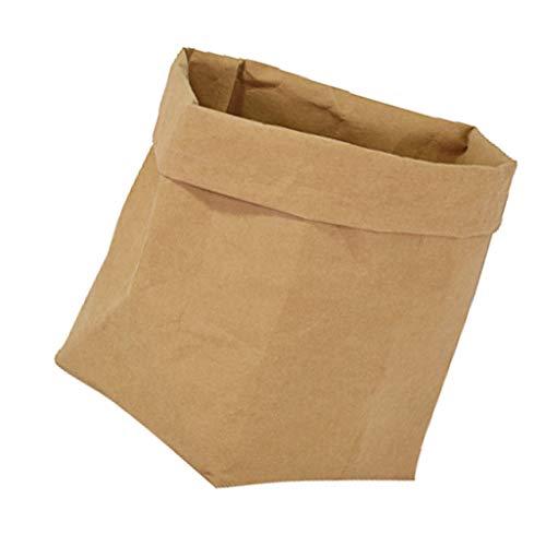 Decorative Durable Paper Bag Reusable Flowerpot Storage Basket Brown S (Ghibli Brown Bag)