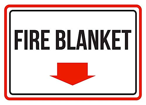 Warning Sign Metal Tin Sign - Fire Blanket Red, Black and White Business Commercial Safety Warning Sign .16 x 12 inches