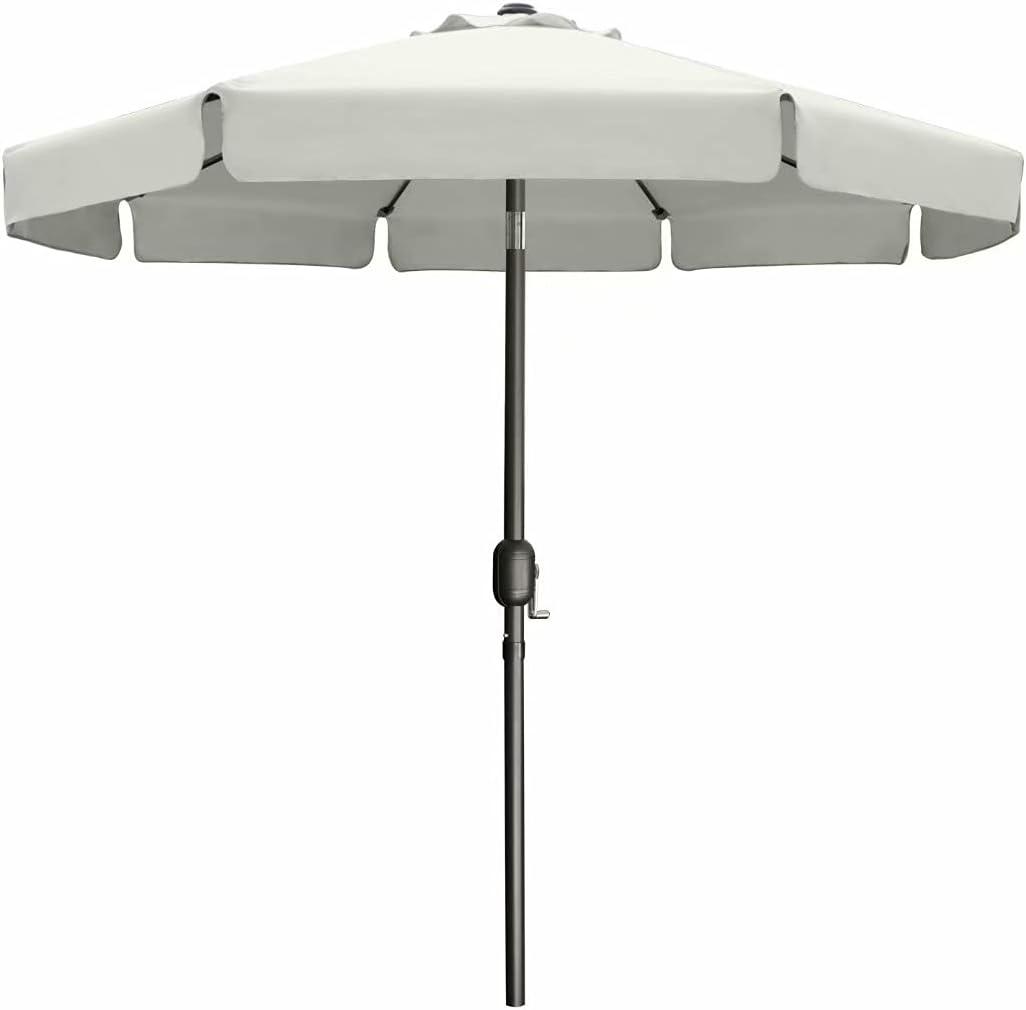 9' Outdoor Garden Table Umbrella Patio Umbrella Market Umbrella with Push Button Tilt for Garden, Deck, Backyard and Pool, 8 Ribs 13+Colors,Light Beige