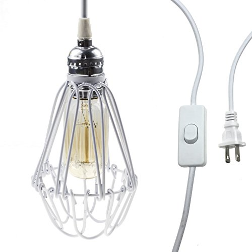 Ceiling Plug - Y-Nut 15' Hanging Light Socket with Plug, 15ft Smal Ceiling Pendant Light with Cage and Switch, E26/E27 Socket, Vintage Industrial Style, PDT-009 (White)