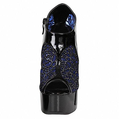 Ellie 609-rayna Femmes Sexy Confortable 6 Mesh Strass Butin Bleu