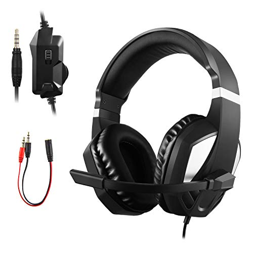 JAMSWALL PS4 Gaming Headset, 3.5mm Over Ear Stereo Gaming Headset for Xbox one, Play station4, Nintendo Switch Games, PC, Noise Cancelling Headphone with mic and Volume Control,Bass Surround
