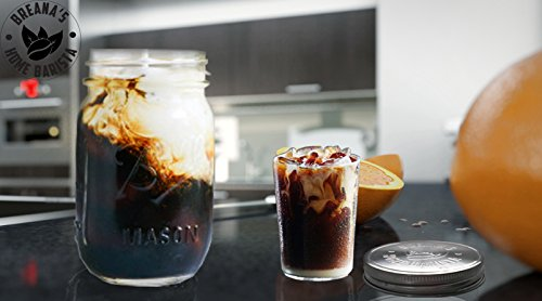 32 Oz Ball Mason Jar Cold Brew Coffee Maker - Iced Tea or Fruit Infuser - Cold Brew System & Kit Stainless Steel Filter, Lid & Silicone Seal For Coarse Ground Coffee Beans & Dried Tea Leaves - 1 Quart by Breana's Home Barista (Image #6)