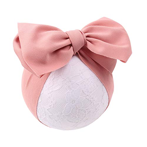 YanJie Baby Large Bows Headwrap Stretch Textured Fabric Top Knot Turban Headband Hair Accessories (peach) ()