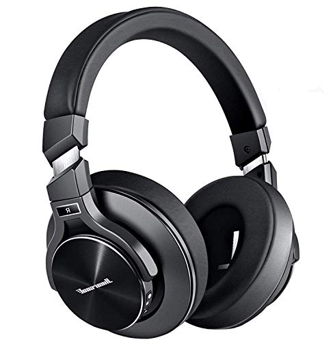 Active Noise Cancelling Headphones, Bluetooth Headphones with Microphone Hi-Fi Stereo Bass Wireless Headphones Over Ear,Airplane Adapter & Carrying Case for All 3.5 mm Jack Devices