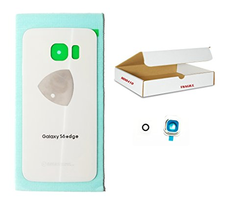 White Cap Edge ((md0410) White back door rear battery housing camera lens cover Compatible Galaxy S6 Edge G925 replacement + Adhesive + Opening Tool)