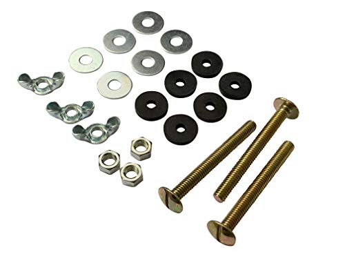 "(Qualihome Universal 5/16"" x 3"" Toilet Tank To Bowl Toilet Bolt Set, Includes Washers, Nuts and 3)"