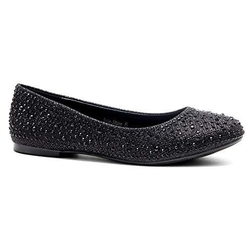 e-Shine Round Toe Jeweled Embellishments Rhinestone Ballet Flats Shoes Black 8.0 ()