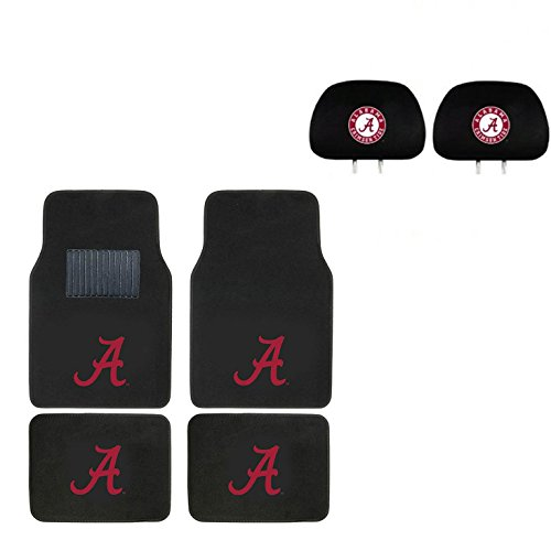 University of Alabama Head Rest Cover and Floor mat. Wow! Logo On Front and Rear Auto Floor Liner. You get 2 headrest covers and 4 Floor Mat in this gift set. Perfect to Alabama Crimson Tide Fan