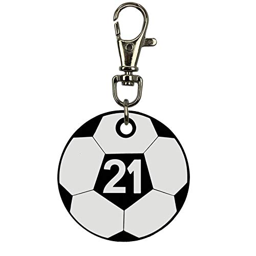 Soccer Bag Tag - Soccer Ball Bag Tag, Numbers 0 To 50 (Front And Back Number) (21)