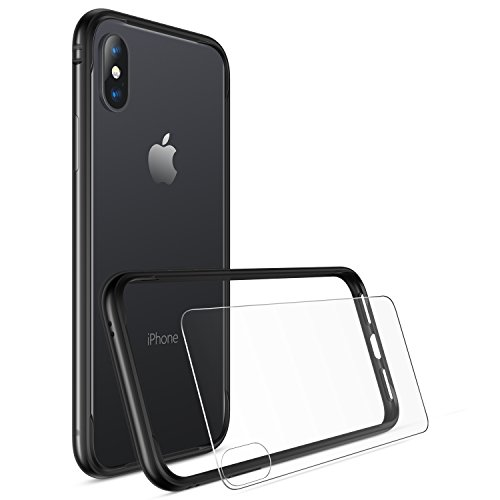 iPhone X Bumper Case, iPhone 10 Case, RANVOO Flexible Protective Bumper Frame for Apple iPhone X (2017) - Black [with Back Screen Protector] Back Metal Frame
