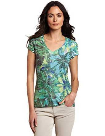 Chaus Women's Embellished Amazon Leaves V-Neck Tee, Aqua Surf, Medium