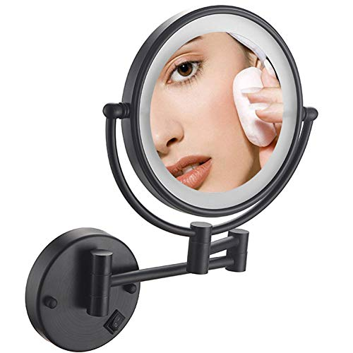 Makeup Mirror 10x Magnification Wall Mount, Makeup Mirror with Lights Black, Double -