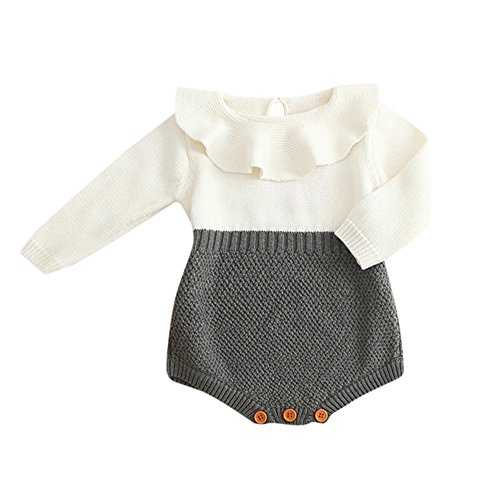 WOCACHI Toddler Baby Girls Clothes, Kids Girls Baby Knitted Sweater Winter Princess Romper Jumpsuit Clothes Infant Bodysuits Rompers Clothing Sets Christening Short Long Sleeve Organic Cotton -