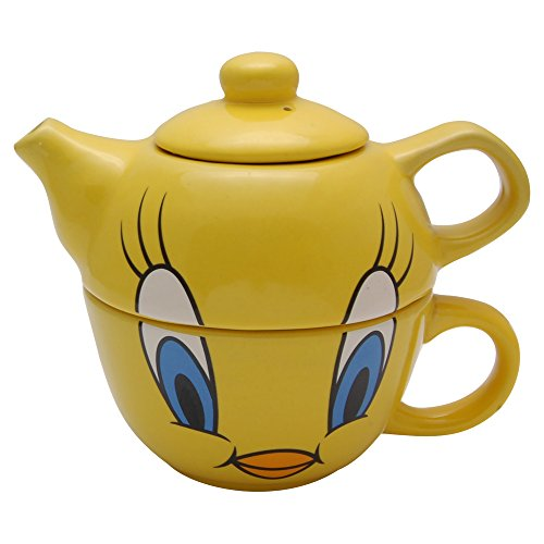 Tweety Pie Gift Boxed Teapot and Cup Set For One - Classic Looney Tunes cartoon