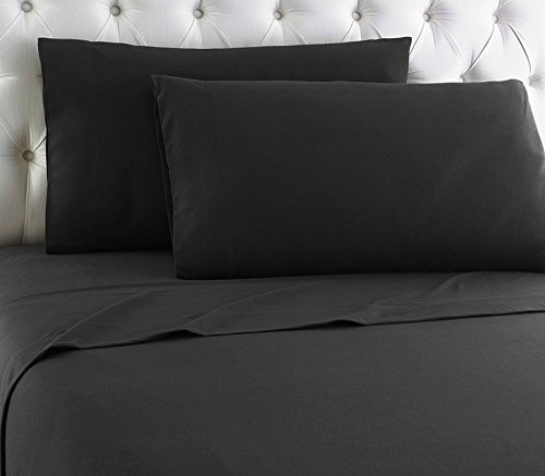 Lavish Linens Un-Attached Waterbed Sheet Set WITHOUT POLE INSERT - HIGHEST QUALITY Egyptian Cotton 600 Thread Count - Wrinkle, Fade, - Hypoallergenic - Solid Black Queen ()