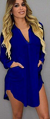 Gonna Camicetta Bluse Puro Con Camicie Lunghe Scuro Irregolare Chiffon Blu Donna Shirt Camicia Fuxiang Blusa Orlo Casual Pulsante Colore Camicette Maniche T Abito SPqUWHT