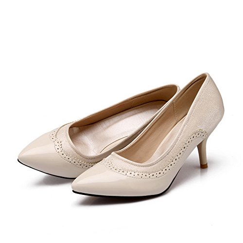 VogueZone009 Women's Pull-On Pointed Closed Toe Spikes-Stilettos Assorted Color Pumps-Shoes Beige FaZQi8u5d