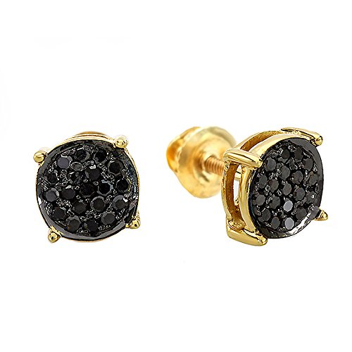 0.25 Carat ctw 18K Gold Plated Sterling Silver Round Black Diamond Ladies Stud Earrings 1 4 CT