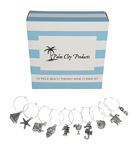 10 Piece Beach Themed Wine Charm Set -