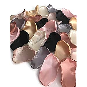 Blush pink silver ivory champagne black gold and rose quartz mix of 50 flower petals