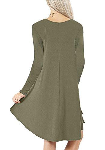 Semplice Erba Tunica Camicia Loose Vestito Pianura Verde Flowy Donne Altalena Fit Casuali Tasche Delle xqqXfwv