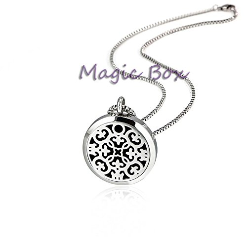 Locket Pendant Necklace Essential Oil Diffuser Perfume Stainless Steel locket with 8 Pads (Dark Pendant Mini Rust)