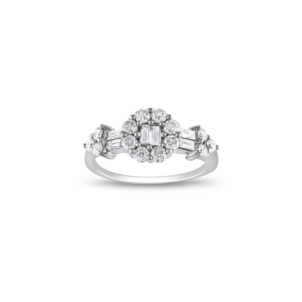 14k White Gold Diamond Ring, Size 6 (0.8 cttw, G H Color, I1 Clarity)
