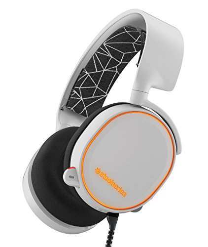 SteelSeries Arctis 5 RGB Illuminated Gaming Headset with DTS Headphone :X 7.1 Surround for PC, PlayStation 4, VR, Android and iOS - White