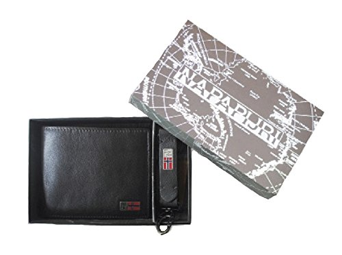 NAPAPIJRI SET MANDAL BILLFOLD 5 C/C+COIN POCKET WALLET + KEYRING black