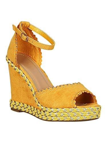 Alrisco Women Faux Suede Scallop Trim Metallic Espadrille Ankle Strap Wedge RD50 - Marigold Faux Suede (Size: 7.0) ()