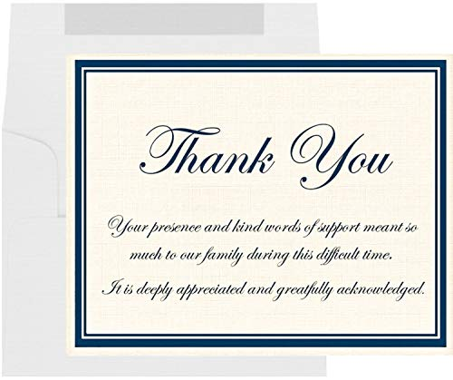 20 Funeral Thank You Cards with Envelopes, Sympathy Acknowledgement