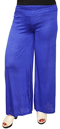 Womens Trousers Wide Leg Palazzo Pants Lycra Indian Clothing Bottom (Blue)