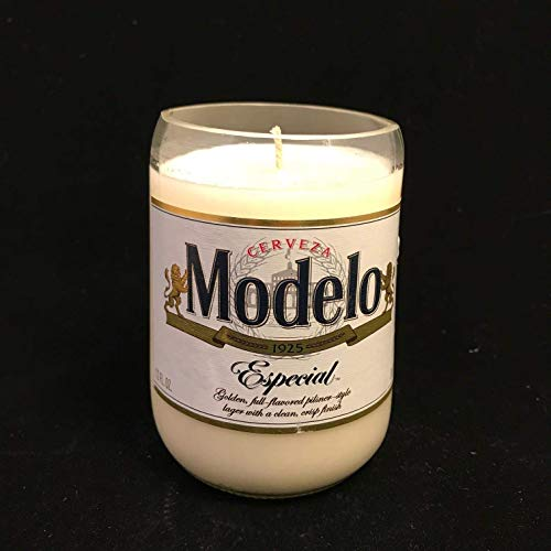 Cucumber Mint Scented 8 Oz Soy Candle MODELO Repurposed Bottle -