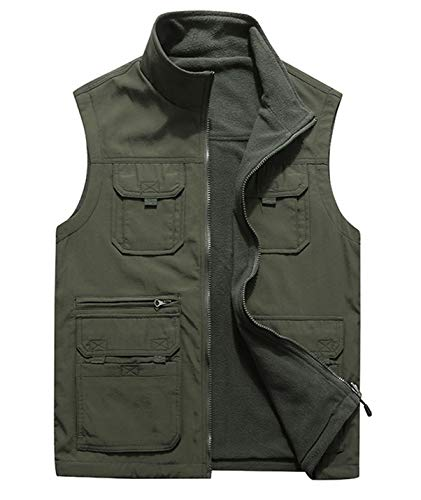 Gihuo Men's Reversible Fishing Travel Pockets Vest Softshell Fleece Sleeveless Jacket (Army Green, X-Large)