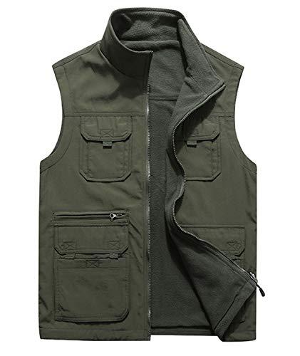 (Gihuo Men's Reversible Fishing Travel Pockets Vest Softshell Fleece Sleeveless Jacket (Army Green, X-Large))