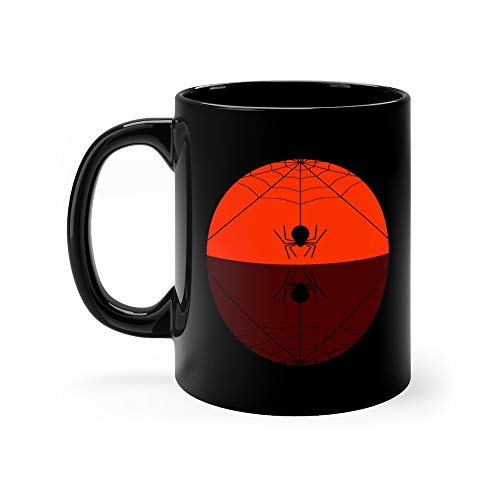 Fat Spider Spinning Web Background In Black And Orange Haunted Mirror Funny Mugs Cups 11Oz Ceramic ()
