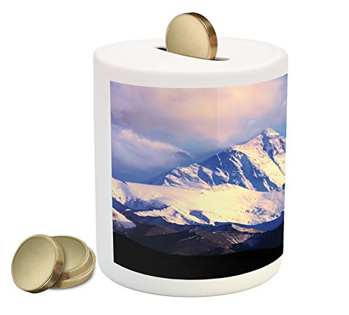 Lunarable Mountain Piggy Bank, Snowy Landscape of The Highest Mount Everest from North Cloud on Glacier Print, Printed Ceramic Coin Bank Money Box for Cash Saving, Blue White