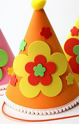 Classic Cute Party Ornament Applique Birthday Cap Children's Birthday Decoration Cute Five Point Stars Pattern Cap_Orange